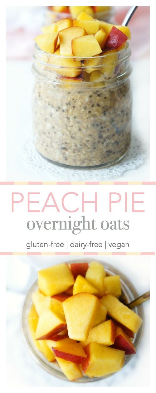 This amazing gluten free overnight oats recipe combines the fruity goodnes of a peach smoothie with a bowl of oatmeal!