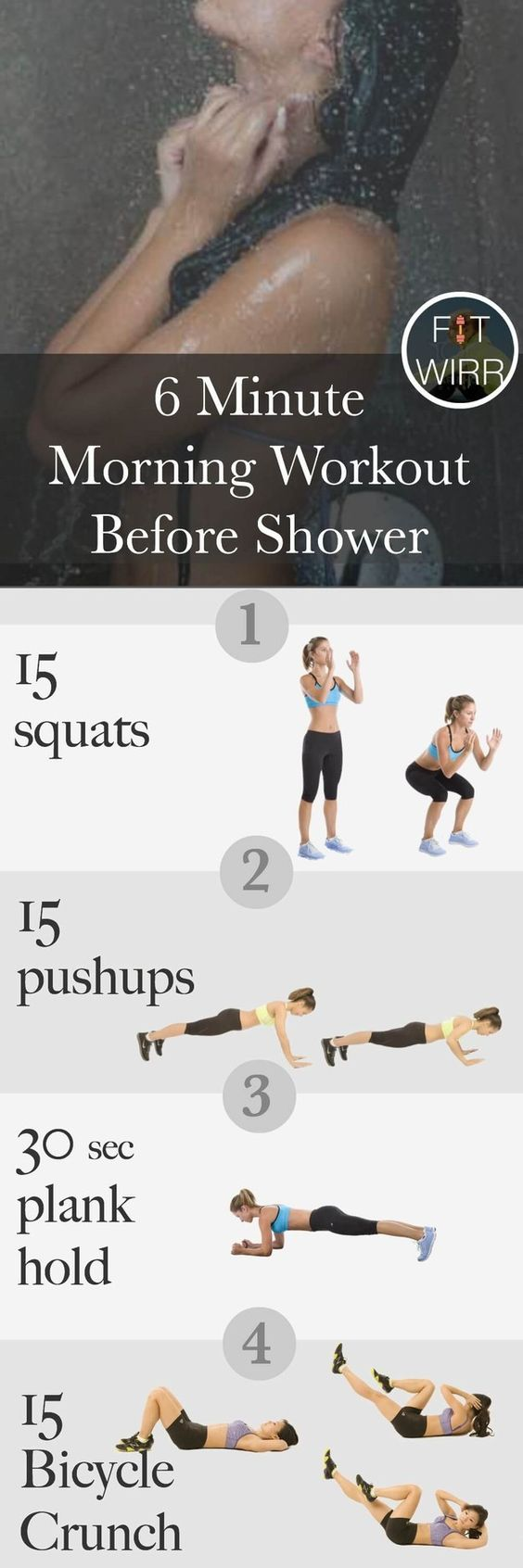 Great workout to do first thing in the morning. It takes just 6 minutes of your time and works your whole body.
