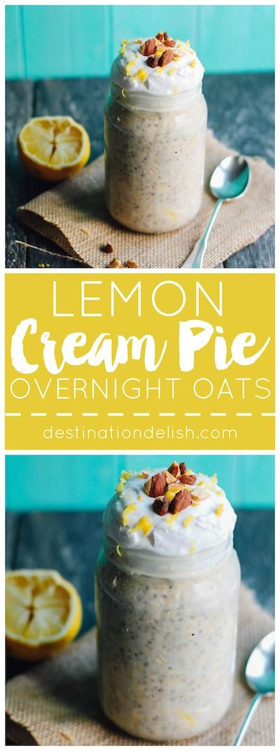 These lemon cream pie overnight oats are deliciously creamy and combine the flavors you get in the most luscious lemon cheesecake.