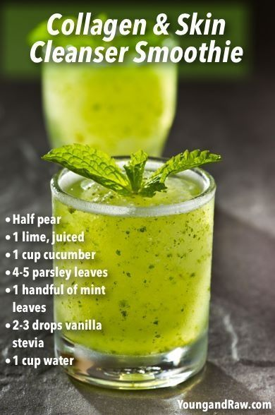 Anti-aging smoothie with a carefully selected blend of skin loving fruits, veggies and herbs for healthy skin, hair and nails
